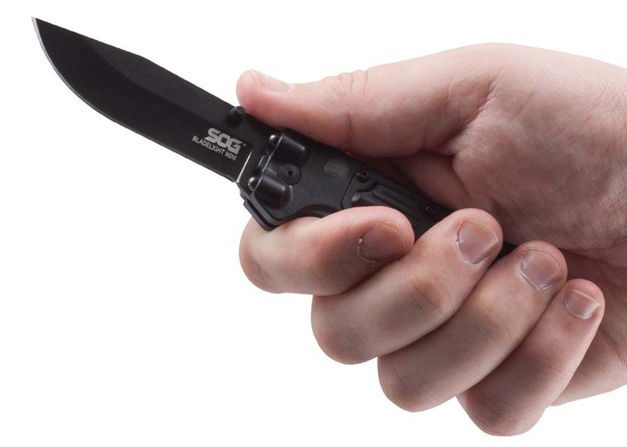 Folding Police Knife with Built in Flashlight