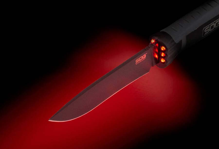 SOG Tactical Knife with Red LEDs
