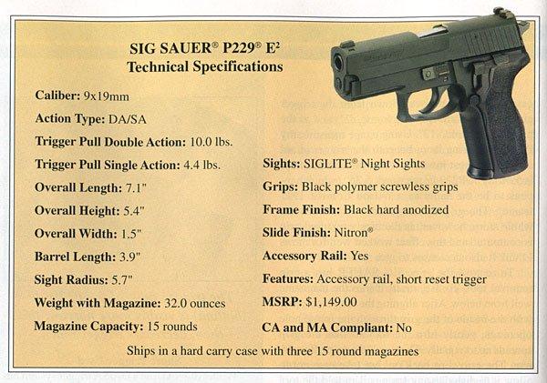 SIG P229 Specs
