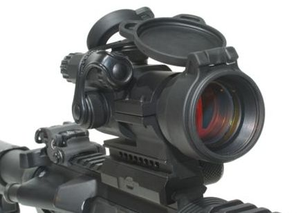 The Aimpoint PRO comes with flip-up lens covers, QD rail attachment, detachable riser, and cap securement straps.