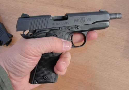 The Browning 1911-380 in the shooter's support hand. The pistol was compact, but not too small.