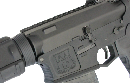The melonite finish and common parts shared with an AR-15.