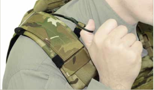 To use the quick release the officer would first grab the loop at the end of the release cord.