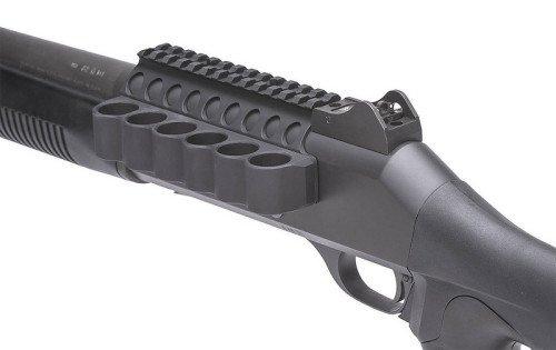 The Mesa Tactical SureShell carrier provides (6) extra shotgun shells at close reach.