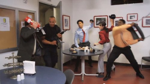 This still shot from the U.S. Homeland Security Active Shooter training shows the final step - FIGHT.