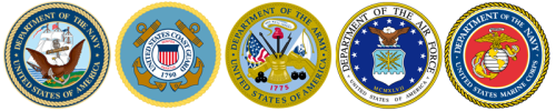 The seals of the five branches of U.S. Military service.