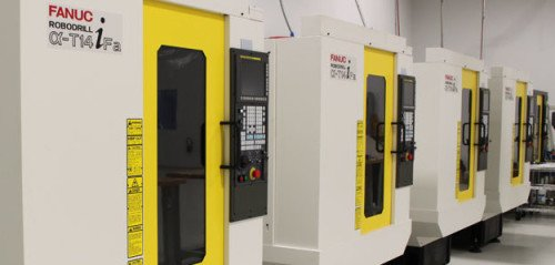 A series of high-tech CNC milling machines at SCCY (photo by SCCY).