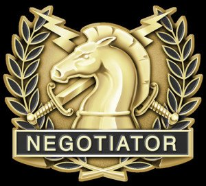 A Negotiator pin accepted by the International Hostage Negotiator Association (photo by collision.biz).