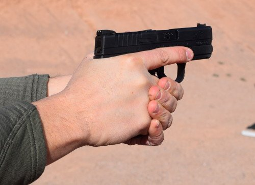 The XDs .40 felt good, and the grip allowed my entire hand