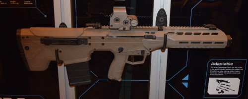 The MDR comes in Black, and FDE. The full-length Picatinny rail on top is ready for optics mounting.
