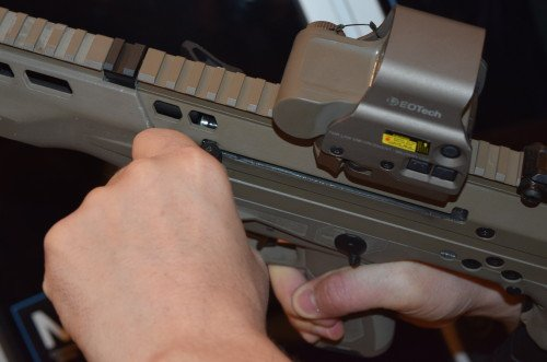 Charging handles are ambidextrous and spring-loaded to fold forward when not needed.