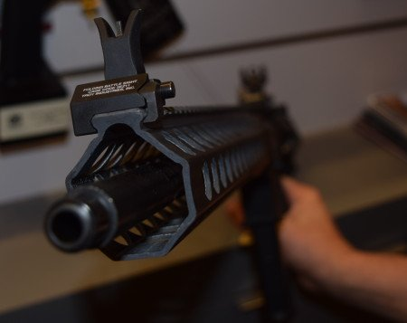 Troy BattleSights are standard, another look at the TRX3 Revolution hand guard.