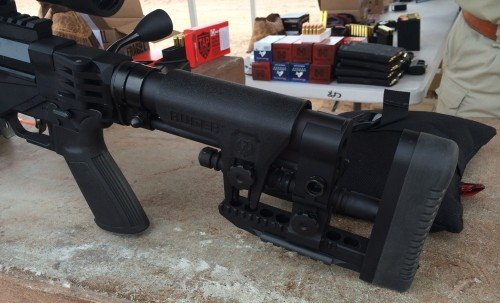 The fully adjustable stock of the Ruger Precision Rifle. Adjustments slide rather into place rather than more finer screw adjustments.