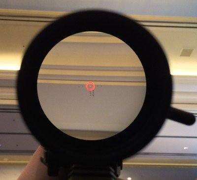 The EOTech Vudu reticle. Glass was clear, and the slight blur to the reticle was due to my movement trying to capture the image.