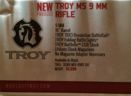 The SHOT Show floor tag, let's hope the M5 will be available soon.