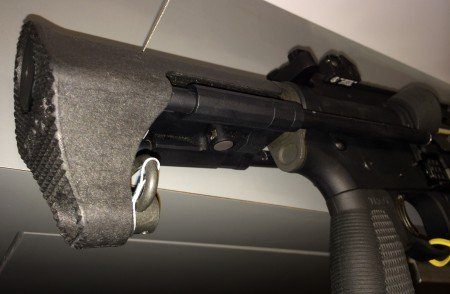 What appears to be the M7A1 PDW stock (collapsed).