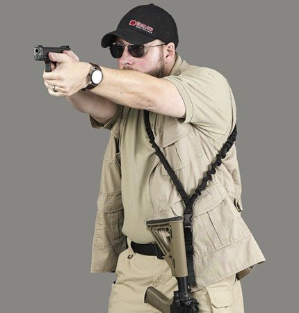 Transitioning to sidearms is easily obtained with the Galco Bungee Sling.