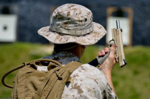 Here a Marine Corps Special Operations Marine training with the MARSOC 1911.