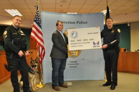The first 2016 grant helped pay for a new K-9 for the Beaverton, OR Police.