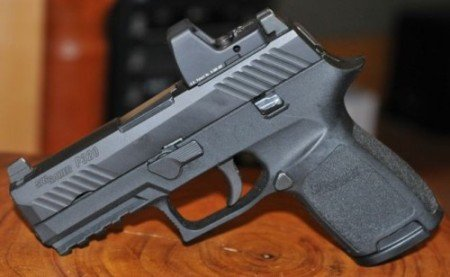 Though not for concealment, the P320 pistols can be mounted with reflex optics (photo from Pinterest).