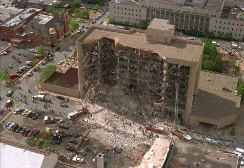 The Murray Federal Building after the Ryder truck filled with ANFO exploded.