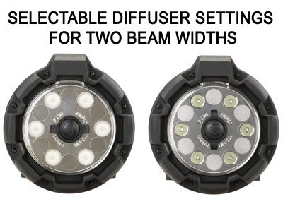 Selectable diffuser settings provide tight or broad beams of light.