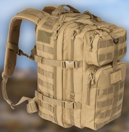 The Exos Gear Bravo Series pack in Coyote Tan.
