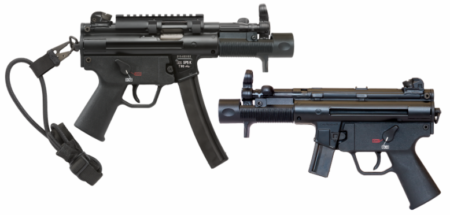 The SP5K pistol comes with a Picatinny top rail, molded handguard, bungee sling, and a special muzzle device and foregrip.