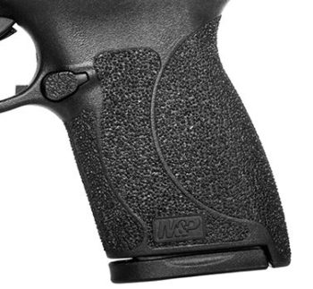 The M&P Shield .45 ACP grip texture covers the entire grip and is more aggressive.