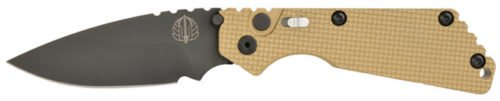 Here the SnG Auto with tan G10 handle and DLC black blade.