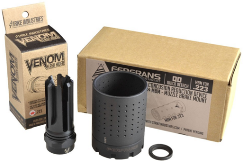 The S.I. FERFRANS system comes with a choice of muzzle brake and the flash/sound reducing can.