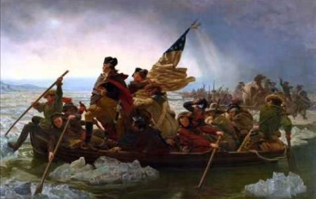 The Continental Army crossing the Delaware (photo from YouTube).