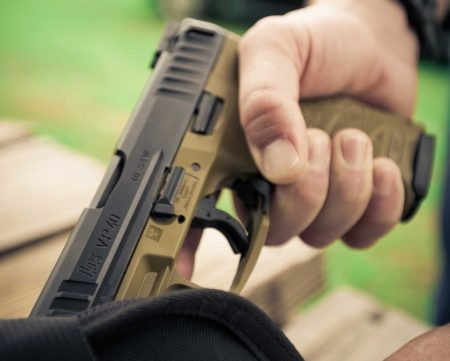 The H K VP FDE pistols are designed to blend in with the outdoor surroundings.