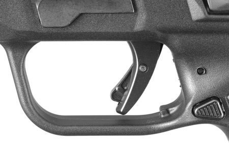 The Ruger American Pistol trigger with Glock-like safety lever, has a steady pull and a very crisp break.
