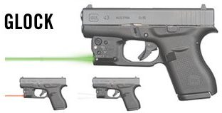 The (3) Viridian R5 options: green laser, red laser, and tactical light.