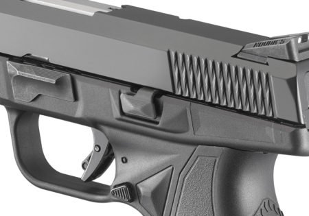 Criss-crossing slide serrations add grip, while the low axis barrel helps reduce recoil.