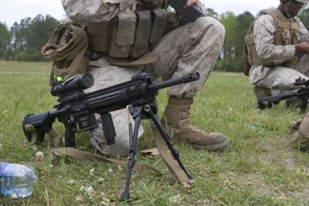 The HK 416 will likely be issued standard with a bipod (photo by 2ndmardiv.marines.mil).