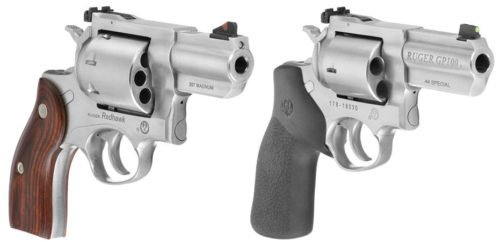 The new Ruger Redhawk .357 mag (l) and GP100 .44 special (r).