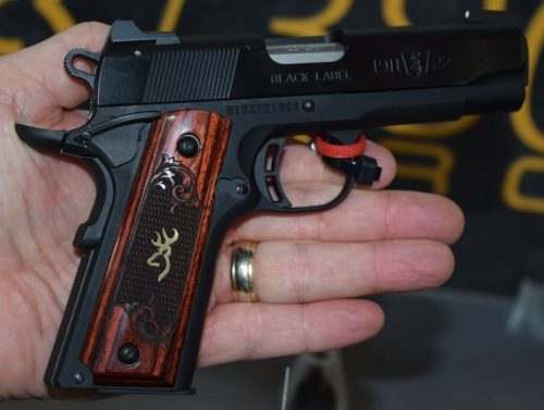 The Black Label 1911-380 Medallion Pro uses Rosewood grips, and a stainless steel slide finish.