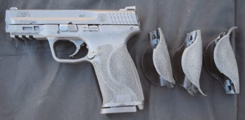 The new M&P 2.0 has (4) palm swell grip options (S, M, ML, L).