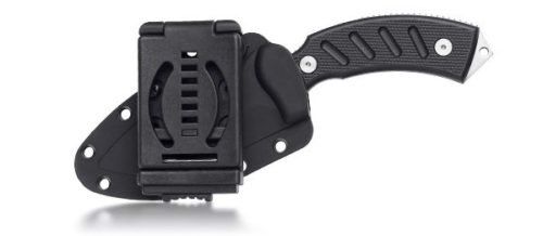 The DOTS sheath has a multi-position belt clip, or the clip can be removed for attachment to packs.