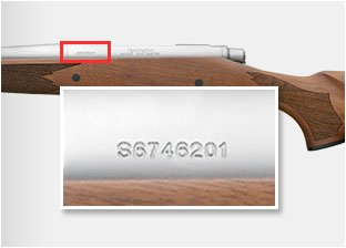 The serial number location on Model 700 and Model 7 rifles.