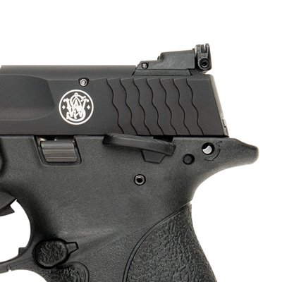 The M&P 22 Compact has an adjustable rear sight, ambidextrous thumb safety, and reversible magazine release button.