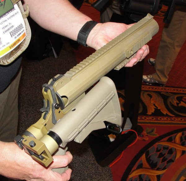 The folding stock of the AMTEC launcher makes it very portable and compact.