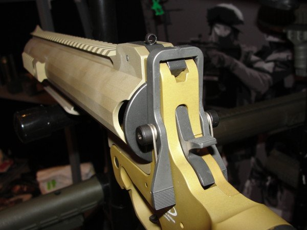 The fixed sighting system on the AMTEC single launcher is adequate in lighted conditions, but the front sight would need illumination at night. The ghost ring rear sight greatly improves sighting time.