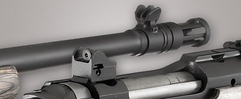 The fixed sights include a low glare front sight and Ghost Ring rear sight.
