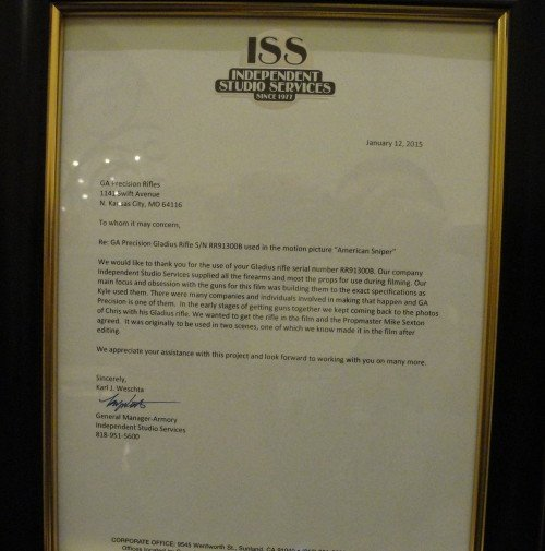 The official letter from the Independent Studio Set confirming the GA Precision Gladius being used in American Sniper.