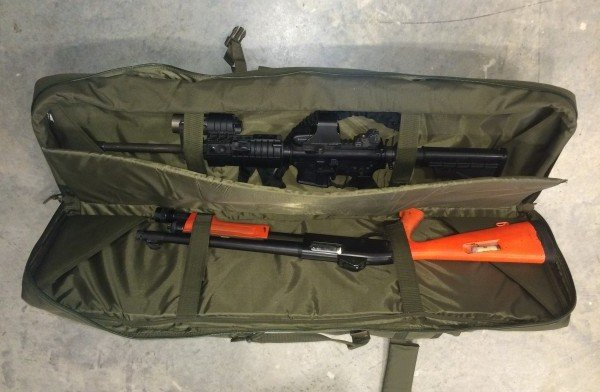 The VooDoo Tactical Double Rifle Bag can easily fit an AR-15 and Remington 870 shotgun.