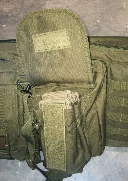 Just one of many possibilities for the exterior pockets is the storage of extra AR-15 magazines.
