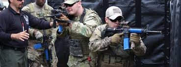 Law Enforcement Officers training with UTM munitions.